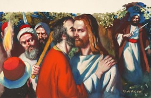 How did judas betray jesus with a kiss