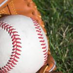 baseball glove and grass